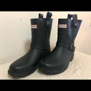 Hunter rain boots, short moto-style